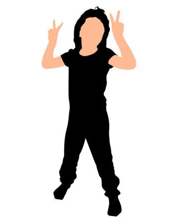 Little girl dancing, vector
