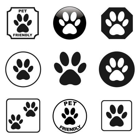 Paw prints icons set vector Stock fotó - 66714972
