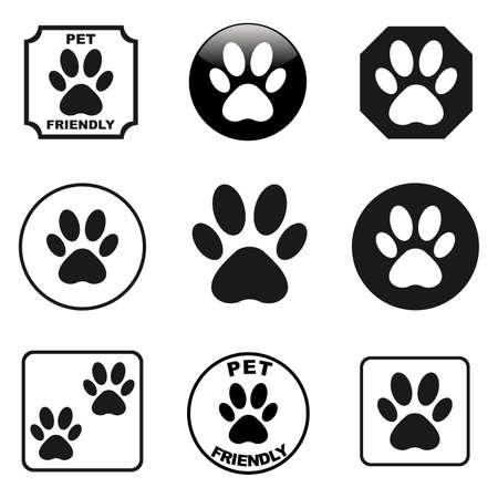 Paw prints icons set vector
