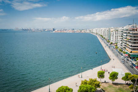Bay of Thessaloniki city in Greece, horizontal view from high observation point