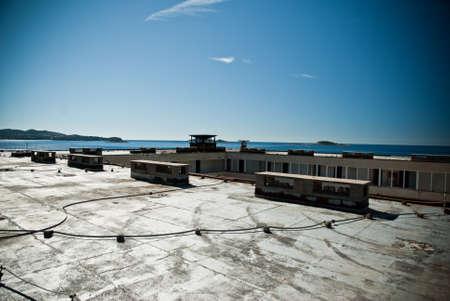 Abandoned dirty demolished building, one of hotels in Kupari complex near Dubrovnik Stock fotó