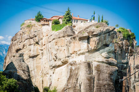 GREECE, METEORA, spectacular rock formations and Greek Orthodox monasteries Stock Photo
