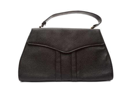 leather woman: Leather woman handbag black Stock Photo