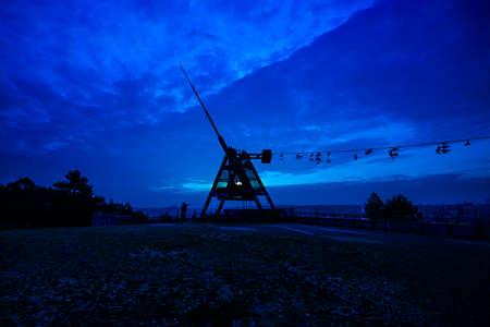 Prague Metronome at night, Czech Republic photo