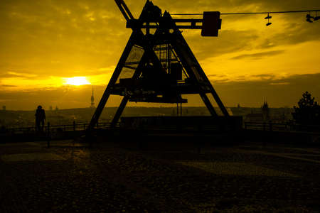 Prague Metronome at romantic sunrise , Czech Republic photo