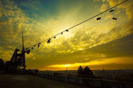 metronome: Prague Metronome at romantic sunrise , Czech Republic
