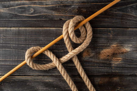 Rolling Hitch Knot. Rope node.