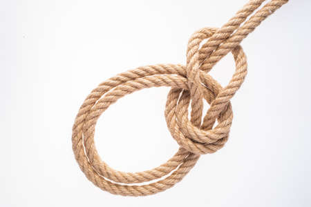 Bowline on Bight Knot on white background. Rope node.