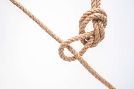Rope loop on white background. Rope knot.