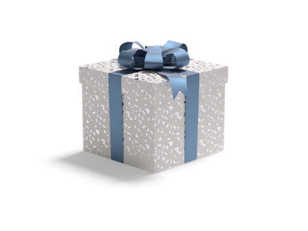 gift parcel: A red white box with spangle tied with a blue satin ribbon bow. A gift for Christmas, Birthday, Wedding, or Valentines day.