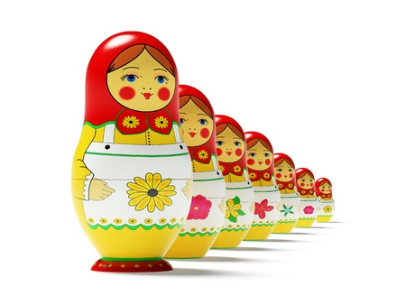 russian nesting dolls: Russian dolls on white background. Russian wooden toy in the manner of painted doll, inwardly which are found like by her dolls of the smaller size.  Its 3D image.