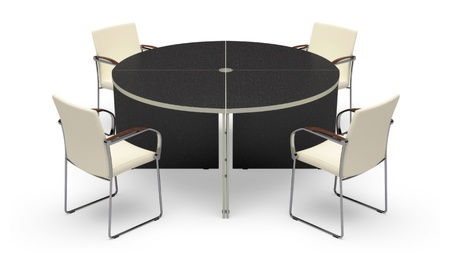 Office desk on a white background. Its 3D image. photo