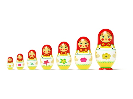 Russian dolls on white background. Russian wooden toy in the manner of painted doll, inwardly which are found like by her dolls of the smaller size.  Its 3D image. photo