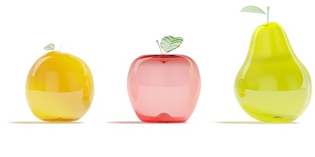 Glass fruits on a white background. Its 3D image. photo