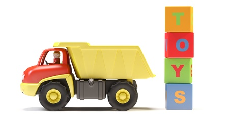 toy truck: Toy truck and cubes on white background.  Its 3D image.