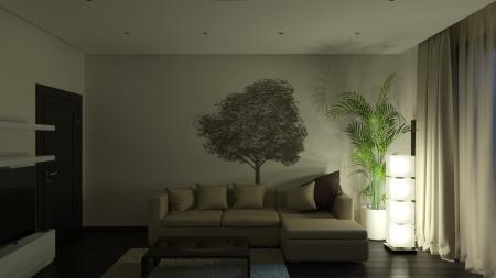 guest room: In camera di notte. Si tratta di immagini 3D.