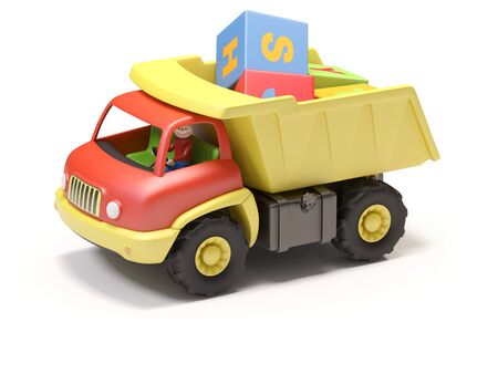 toy truck: Toy truck and cubes on white background   It