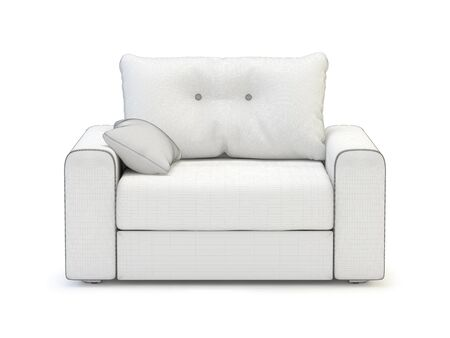 Armchair on white background.  Its 3D image