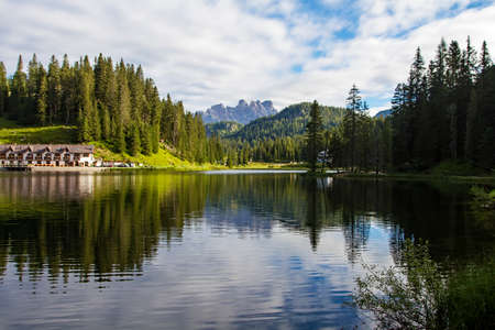View of Misurina's lake in a clear summer's morning Фото со стока