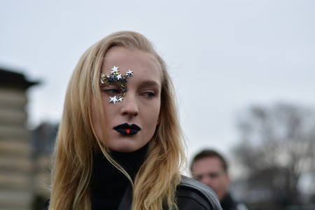 haute couture: France, Paris, 27 January 2016: Nastya Sten after the Maison Margiela fashion show During haute couture.