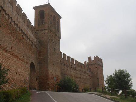 Porta Nova gate in Gradara walls and and the uphill road