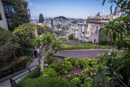 Famous Lombard Street in San Francisco, California, USA