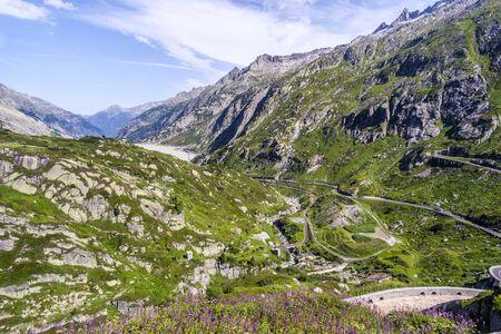 Beautiful landscape at Grimsel pass - mountain road in Swiss Alps, Switzerland