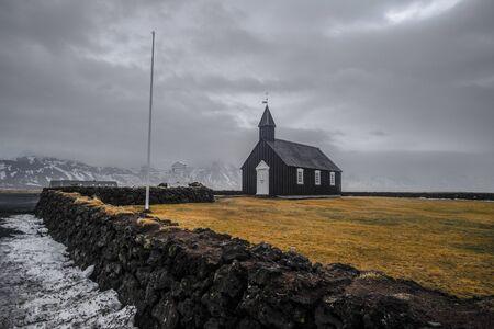 Black Church in Iceland known as Budakirkja Church in winter