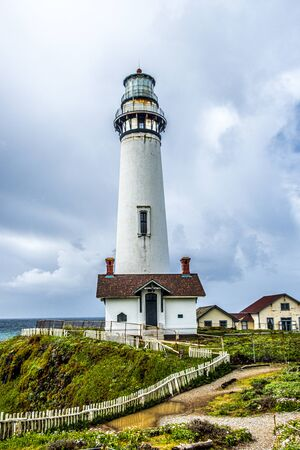 Pigeon Point Lighthouse on the Pacific coast of California, USA Stok Fotoğraf