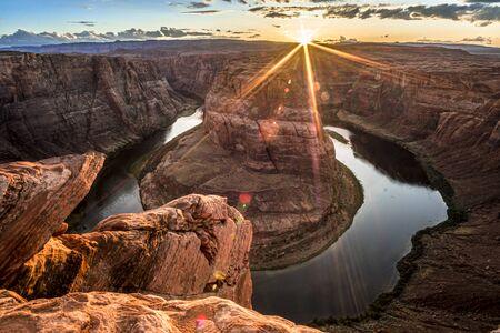 Beautiful sunset at Horseshoe bend, Arizona, USA
