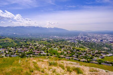 View of Salt Lake City from Ensign Peak, Utah, USA Stock Photo