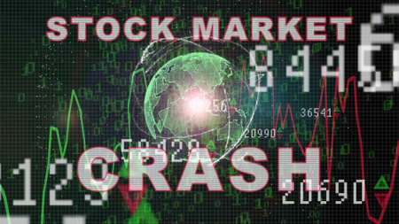 Stock market crash text on Stock market graph with bar chart price display, trading screen, chart bars. Finance concept Stock Market trade graph on the screen