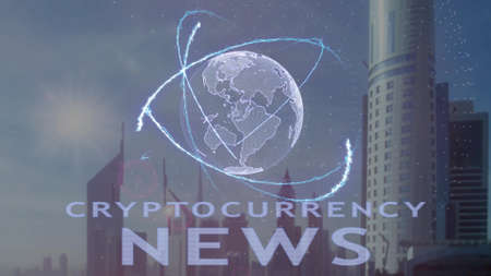 Cryptocurrency news text with 3d hologram of the planet Earth against the backdrop of the modern metropolis. Futuristic animation concept