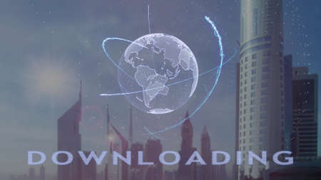 Downloading text with 3d hologram of the planet Earth against the backdrop of the modern metropolis. Futuristic animation concept