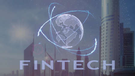 Fintech text with 3d hologram of the planet Earth against the backdrop of the modern metropolis. Futuristic animation concept 版權商用圖片