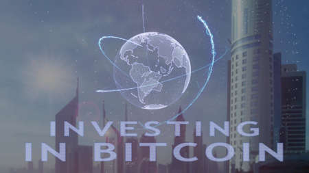 Investing in Bitcoin text with 3d hologram of the planet Earth against the backdrop of the modern metropolis. Futuristic animation concept Imagens