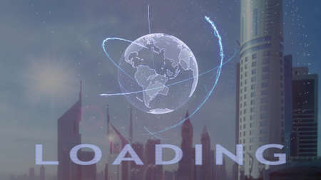 Loading text with 3d hologram of the planet Earth against the backdrop of the modern metropolis. Futuristic animation concept