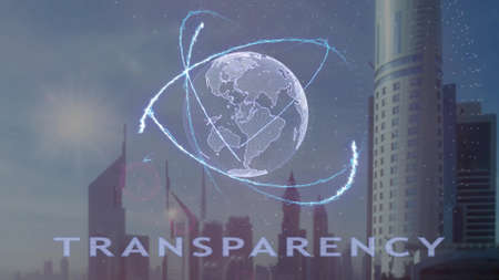Transparency text with 3d hologram of the planet Earth against the backdrop of the modern metropolis. Futuristic animation concept