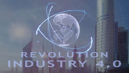 Revolution Industry 4.0 text with 3d hologram of the planet Earth against the backdrop of the modern metropolis. Futuristic animation concept