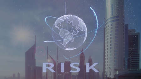 Risk text with 3d hologram of the planet Earth against the backdrop of the modern metropolis. Futuristic animation concept Archivio Fotografico