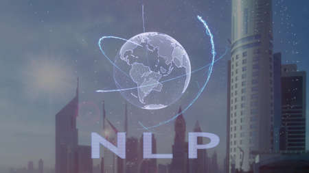 NLP text with 3d hologram of the planet Earth against the backdrop of the modern metropolis. Futuristic animation concept Stock Photo