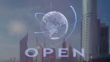 Open text with 3d hologram of the planet Earth against the backdrop of the modern metropolis. Futuristic animation concept Imagens