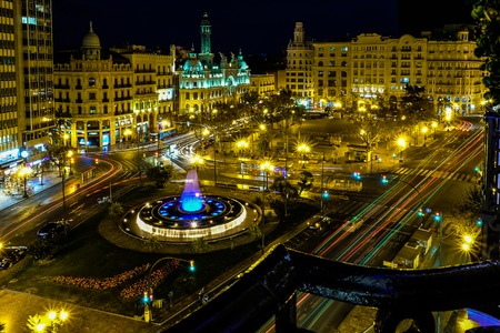 Urban Valencia Nighttime Cityscape - April 2018 - Valencia, Spain