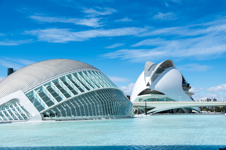Ultra modern buildings of the Center in Valencia on the eastern coast of Spain april 2018