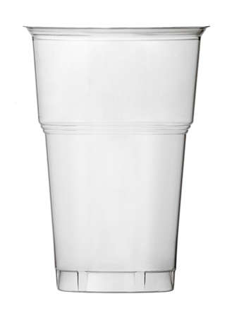 empty, white plastic cup on the white background