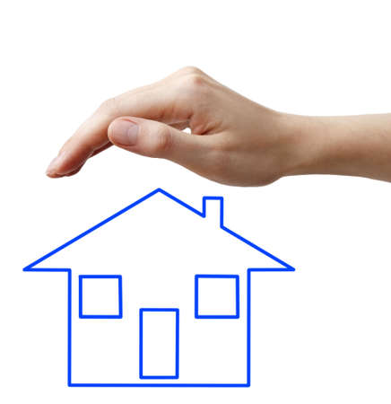 A human hand with blue concept hause Stock Photo