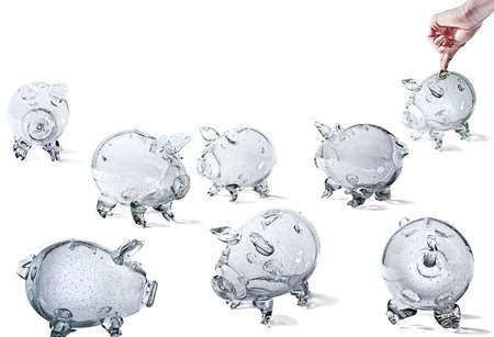 Glass Piggy Banks, group of objects, isolated on white background.