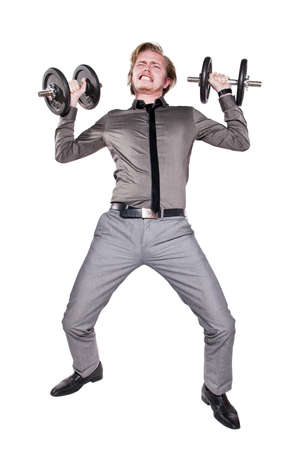 Young man in necktie training with dumbbell. Isolated on white background.