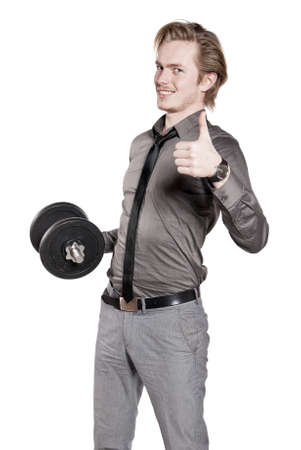 Young man in necktie training with dumbbell. Isolated on white background. Stock Photo - 8610623