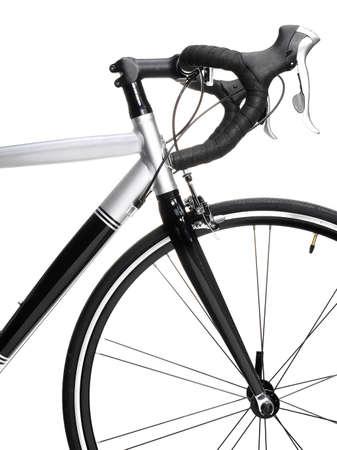 Racing bike detail. Studio photo of vehicle part, isolated on wgite background.